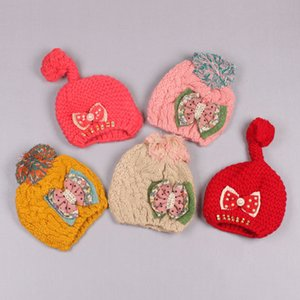 Clearance sale Fashion Wool Cap Skull Cap Children Knit Hat Crochet Beanie Hat Cute Girls Winter Caps Bows Flowers Z165