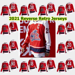 Columbus Blue Jacken 2021 Reverse Retro Hockey-Trikots Seth Jones Cam Atkinson Elvis Merzlikins Nick Foligno Zach Werenski Custom genest näht