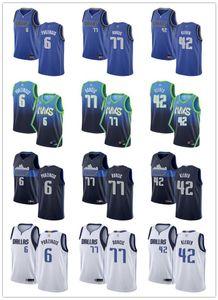 Мужская женская молодежьДалласMavericks77 ЛукаДолгический 6 кристапсPorzingis 42 Maxi Kleber Blue Custom Basketball майки