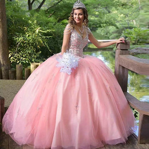 Pink Quinceanera Dresses 2021 Beaded V-neck Beading Sweet 15 16 Dress Puffy Skirt Satin Ball Gown Prom Dress Birthday Party Gowns