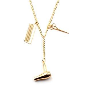Wholesale secador de cabelo scissor pente keychain pingentes tesoura jóias cosmetologist cabelo cômoda chaveiro cabeleireiro de cabeleireiro jllmou