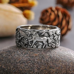 Vintage Horse Rabbit Finger Ring Women Retro Animal Ring Size 6 7 8 9 10 High Quality Jewelry Accessories