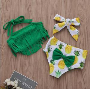 Children Swimwear baby girls Sling tassel top+pineapple print shorts with Bow headband 3pcs set 2019 summer Bikini Kids Swimsuit B11