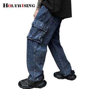 Retro washed multi-pocket overalls Trousers Multi Pocket Cargo Jeans Men New Fashion Denim Pants M-5XL