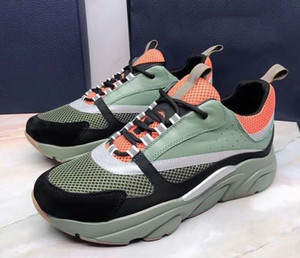 wholesale Mens Women Runner Shoes Sneaker White and Black Technical Mesh and Green and Gray Calfskin Dust bag included plus size 47