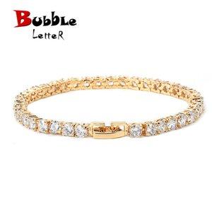 Iced Zircon Tennis Chain Bracelet Men's Hip hop Jewelry Copper Material Gold Color Box Clasp CZ Bracelet Link 18.5cm Y1125