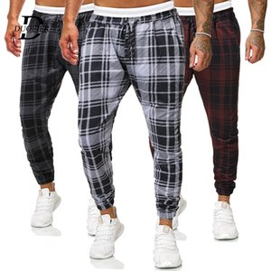 2020 New Fitness Men's Fashion Lattice Jogger Brand Pants Men Trousers Casual Pants Gym Male Sportswear Tight-fitting Sweatpants Z1126