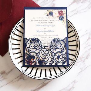 Personalisierte Marsala-Blumen-Hochzeits-Einladung, lasergeschnittene kundenspezifische Einladungen, elegante Hochzeit, Navy-Einladung1