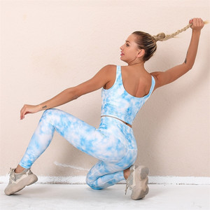 Printed Sexy Hip Yoga Suit Women's Sports Bra Running Fitness Pants Women
