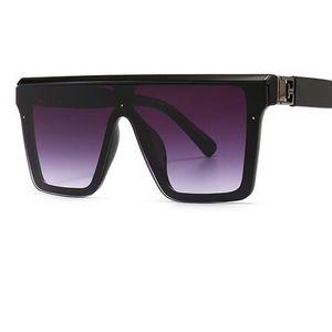 Retro Oversized Shades Women Flat Top Sunglasses 2021 Black Fashion Square Sun Glasses Big Frame Vintage Gradient Goggles UV400