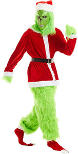 Men Adult Mr Santa Claus Christmas The Grinch Red and Green Party Performance Outfit Cosplay Costume for Christmas