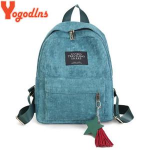Yogodlns Women Backpacks School Shoulder Bag With Tassel Corduroy Backpack Female Notebook Bags For Girls Preppy Style Knapsack