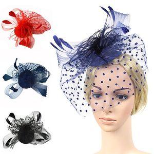 Mesh Flower Bow Hairpin Wedding Photography Props Hair Accessories Feather Headdress Hairpins Fashion Women Headwear Hat