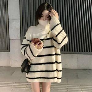 Turtleneck sweater women's fall winter wear 2020 new women's mid-length loose Korean salt striped knitted jacket