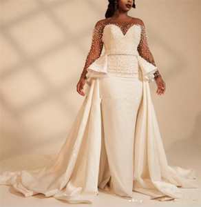 Long Sleeves Plus Size Mermaid Wedding Dresses With Overskirt Pearls Beaded Illusion African 2021 Bridal Gowns Customized Vestidos