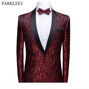 Floral Jacquard Men Blazer Slim Fit Shawl Collar Mens Suit Jacket New Single Button Men Tuxedo Wedding Party Blazer
