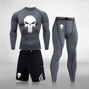 Men's Sportswear Compression Sport Suits Quick Dry Running Sets Skull Joggers Training Gym Fitness Tracksuits Clothes 201203