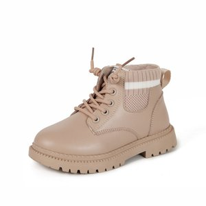 2020 Kids Girls Autumn Breathable High Shoes Patchwork Ankle Boots Children Boys Fashion Lace-Up Work Boots Size 26-36 Y1125