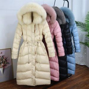 Winter 2020 New Korean version of double fur collar fairy down jacket women plus long slim slim jacket fashion versatile