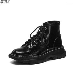 Stivali Qzyerai Style Genuine Leather Leather Tempo libero Scooter Donne Scooter Black Cowhide Scarpe Dimensioni 34-401