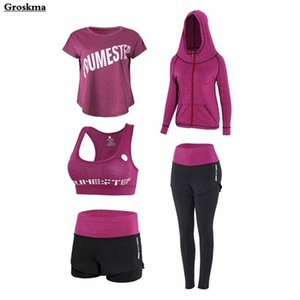 Plus size women sports 5PCS set quick dry yoga high waist pants+shorts+t shirt+bra+coats fitness gym clothing outdoor sets 4XL Z1125