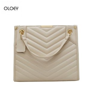 OLOEY New women's fashion messenger bag chain shoulder bag embroidery thread rhombus popular handbag for women