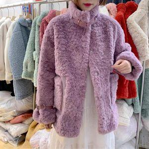 Garrafa lã escova pele peles casaco qiu dong han edição fuzzy integrado pequeno botão espessamento fita fresca feminina