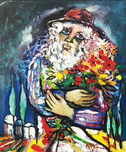 """Sanat Eserleri """"Le Mandiant Fleuri"""" 1991 Ev Dekor Handpainted HD Baskı Yağlıboya Tuval Üzerine Büyük Duvar Sanatı Tuval Resimleri 210117"""