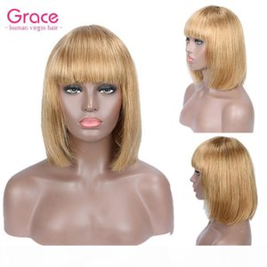 #27 Short Human Hair Wig Pixie Cut Peruvian Remy Straight Bob Wigs With Bangs For Black Women Honey Blonde Glueless Non Lace Front Wig