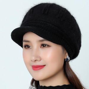 2020 Best Hot Women Autumn Warm Stripe Beret Cap Braided Baggy Crochet Knit Beanie Hat Ski Caps Accessories Great Rabbit Hair Berets