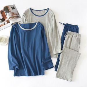 Mens Knitted 100% Cotton Pajamas Thin Long-sleeved Homewear O-Neck Solid Men Sleepwear Plus Size Sleep Set 2 Piece Wholesale Q1202