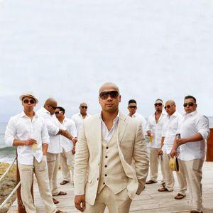 Handsome Linen Beach Groom Wedding Tuxedos Classic Fit Men Suits Fashion Best Man Blazers 3 Pieces Jacket Pants Vest Bridegroom Party Wear