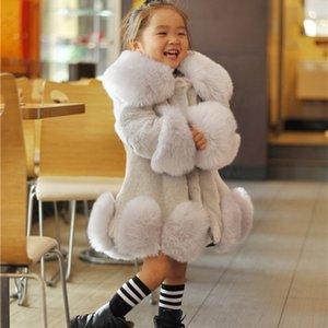 New Baby Girls Long Sleeve Winter Wedding Faux Fur Brand Fur Coat for Girls Formal Soft Party Coat Kids Wedding Outwear 201208