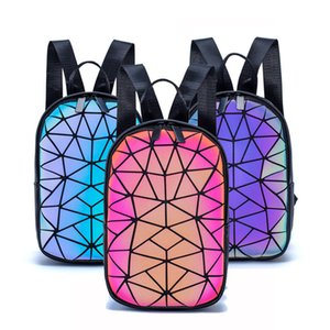 Luminous Backpack Women Small Geometric Backpack School Folding Female Holographic Backpacks Colorful Reflective School Bags A1113