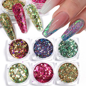 6pcs 3D Mermaid Sequins Nail Glitter Paillette Flake Gel Polish Powder Scales Acrylic Eye Dust Pigment Nail Decoration SA1539-32