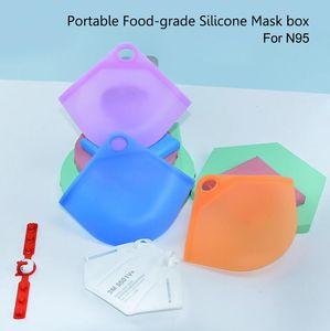 Coque en silicone de qualité alimentaire portable Masques de masque de porte-conteneur Organisateur de protection anti-poussière