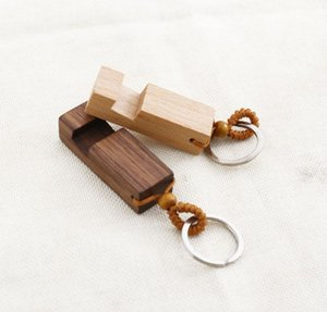 Wood Keychain Phone Holder Rectangle Wooden Key Ring Cell Phone Stand Base Best Gift Key Chain 2styles SN3994