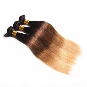 Rubia Human Hair Weaves 1b 4 27 Malaysina peruana Brailano Straight Wavy Virgin 3 paquetes Tres tonos Rubia Ombre Pelo Extensiones