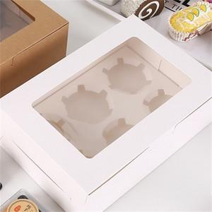 Transparent Fenster Muffin Cupcake Box Geschenke Kuchen Desserts Lebensmittel Lagerbehälter Backen Verpackung Organizer Kraftpapier Heißer Verkauf 0 75bg F2