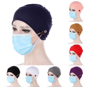 2021 Neue Frauen Turban Head Wrap Hat mit Knopf Headwear Headscarf Motorhaube Innere Hijabs Mütze Muslim Hijab Chemo Hüte Turban