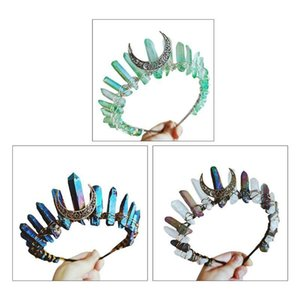 2020 Boho Bruxa Vintage Tiara Faux Raw Crystal Headband Liga Loon Angel Aura Crown