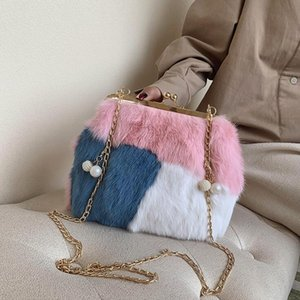 wholesale women handbag sweet and lovely rabbit fur bag winter new contrast stitching women clutch bags street fashion leather messenger bag