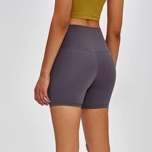 Massivfarbe Nackt Yoga Shorts Hohe Taille Hüfte Enge Elastische Ausbildung Frauen Hosen Running Fitness Sport Workout Leggings