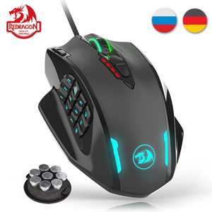 Redragon M908 12400 DPI Impact Gaming Mouse 19 Pulsanti programmabili RGB LED LED Laser Wired MMO Mouse High Precision PC PC Gamer LJ200930