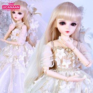 Ucanaan 1/3 BJD boneca 60 cm 18 bola articulado bonecas com roupas palácio maxi vestido peruca sapatos maquiagem brinquedos presentes para meninas coleção y1230