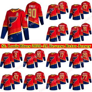 St. Louis Blues 2020-21 Reverse Retro Jersey 90 Ryan O'Reilly 91 Vladimir Tarasenko 47 Torey Krug 50 Binnington 55 Camisas de hóquei paraayko