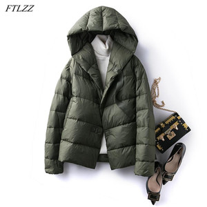 FTLZZ Winter 90% White Duck Down Coat Ultra Light Hooded Down Short Jacket Women Single Breasted Coat Fluffy Warm Snow Outwear
