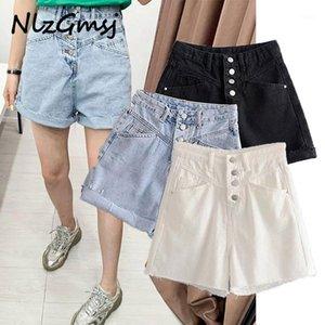 nlzgmsj ins Blogger High Street Vintage Wahsed Cintura alta 2020 Verão Mamãe Denim Shorts Mulheres Curto Feminino Plus Size Women1