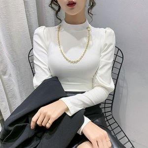 Stand Collar T-shirt Puff Sleeve Women's T-shirt Long Sleeve Fashion Slim T-shirt Autumn Winter Undershirt