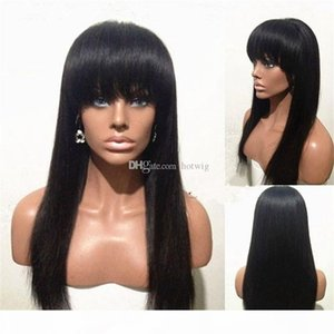 100% human virgin hair full lace wig 10-24'' inches long hair lace front wig with beautiful bangs for black woman swiss lace cap